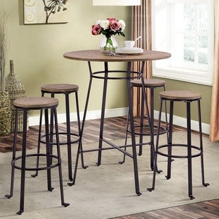 Harper&Bright Designs 42-inch Height Round Bar Table Retro Dining Room Metal Frame Table