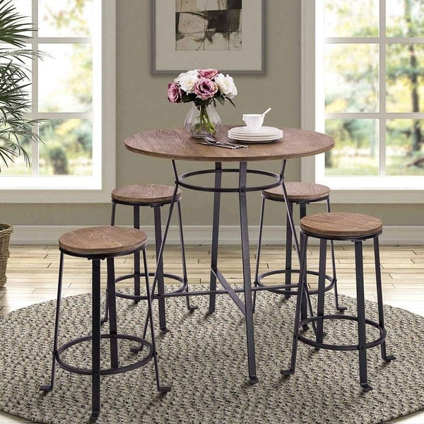 Harper & Bright Designs 36-inch Retro Rustic Pub Bar Table Round Wood Table with Heavy-Duty Metal Legs