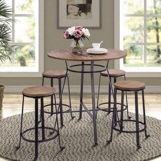 Harper&Bright Designs 36-inch Retro Rustic Pub Bar Table Round Wood Table with Heavy-Duty Metal Legs