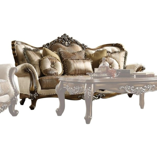 Shop Vintage Fabric and Wood Sofa with 6 Pillows,Brown - Free Shipping Today - Overstock.com - 25477473