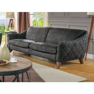 Vintage Style Fabric and Wood Sofa with Sloped Arms, Gray