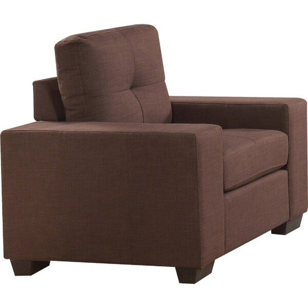 Transitional Fabric Upholstered Wooden Sofa with Track Arms, Brown