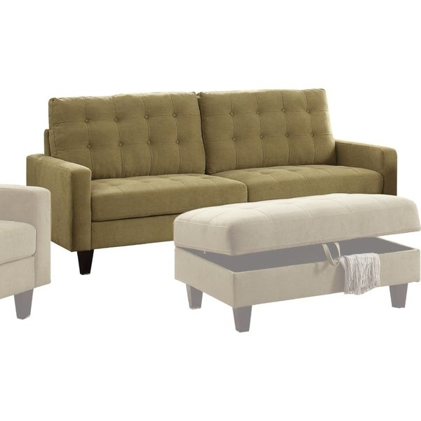 Transitional Style Fabric and Wood Sofa with Button Tufting,Mustard Yellow