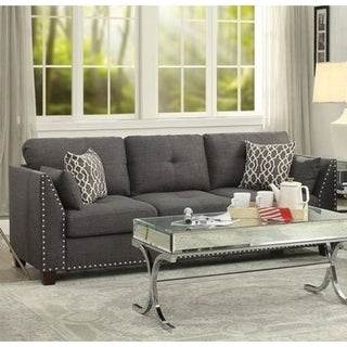 Transitional Style Wood and Linen Tufted Back Sofa with 4 Pillows, Gray