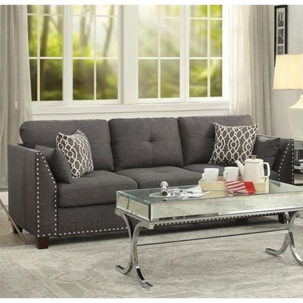 Transitional Style Wood And Linen Tufted Back Sofa With 4 Pillows Gray Free Shipping Today 25477497
