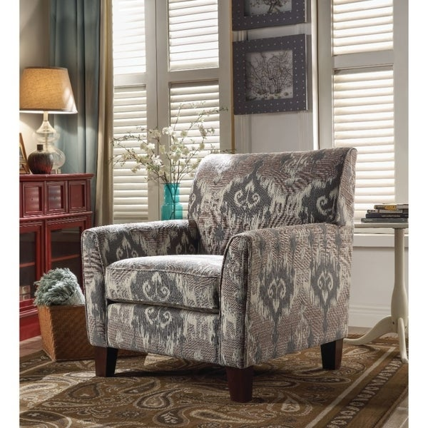 Shop Vintage Wood And Fabric Contrast Pattern Chair With
