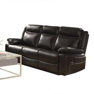 Contemporary Style Leatherrette and Metal Sofa with Motion Reclining, Brown