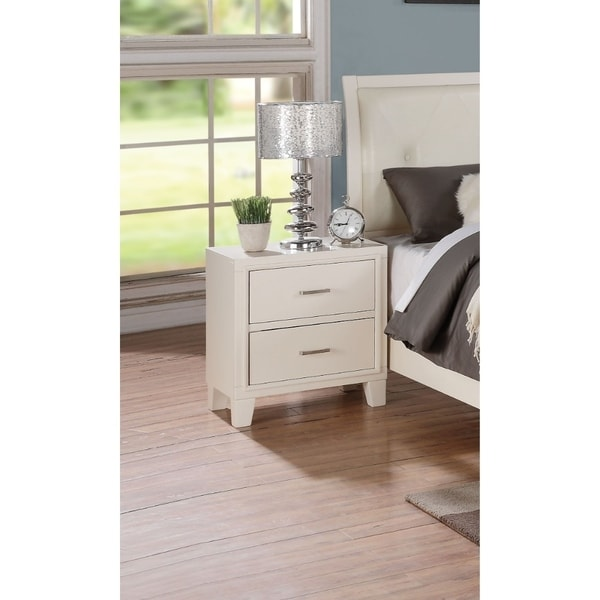 Contemporary Style Wood and Metal Nightstand with 2 Drawers, White