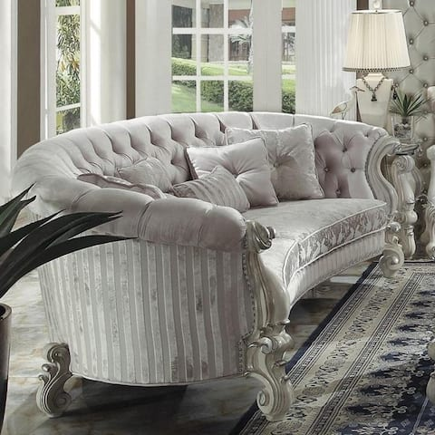 Traditional Velvet and Poly Resin Button Tufted Sofa with 5 Pillows, White
