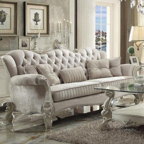 Vintage Velvet And Poly Resin On Tufted Sofa With 5 Pillows White Free Shipping Today 25477524