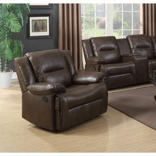 Contemporary Style Metal and Leatherette Glider Recliner , Brown