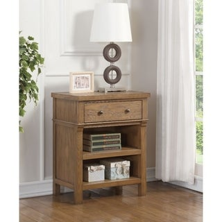 Transitional Wood and Metal Nightstand with 1 Drawer and 2 Shelves, Brown