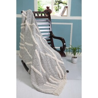 LR Home Overtufted Folk Design Throw Blanket With Fringe