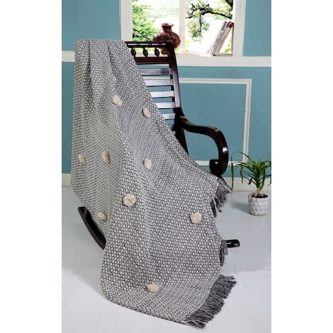 LR Home Cozy Vintage Throw Blanket With Fringe