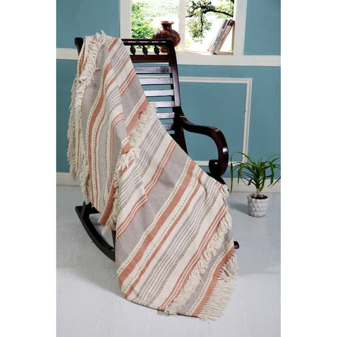 LR Home Fringed Terracotta Sunrise Throw Blanket With Golden Accents