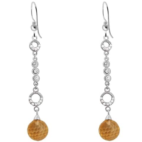 Cubic Zirconia Sterling Silver Ball Dangle Earrings by Essence Jewelry