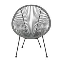 Offex Valencia Oval Comfort Series Take Ten Grey Rattan Bungee Lounge Chair