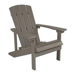 Offex Cottage Style All-Weather Adirondack Patio Chair in Light Gray Faux Wood