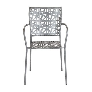 Offex Contemporary Antique Silver Indoor Outdoor Steel Patio Stack Chair