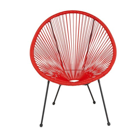Offex Valencia Oval Comfort Series Take Ten Red Rattan Bungee Lounge Chair