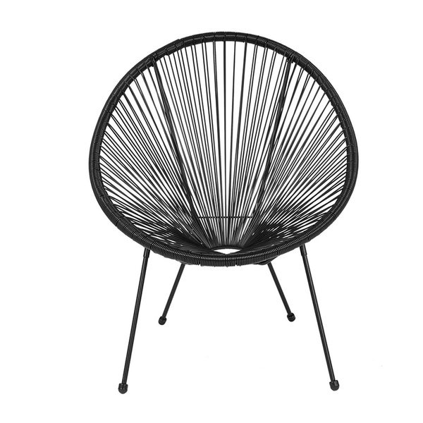 Offex Valencia Oval Comfort Series Take Ten Black Rattan Bungee Lounge Chair