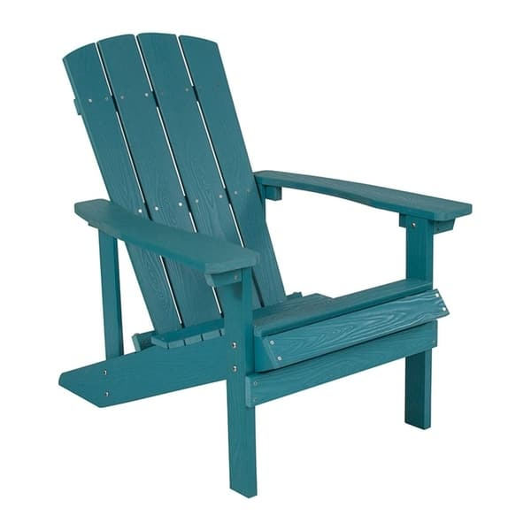 Offex Cottage Style All Weather Adirondack Patio Chair In Sea Foam Faux Wood