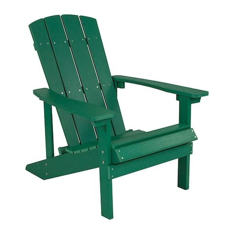 Offex Cottage Style All-Weather Adirondack Patio Chair in Green Faux Wood