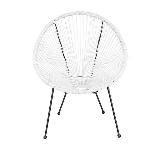 Offex Valencia Oval Comfort Series Take Ten White Rattan Bungee Lounge Chair