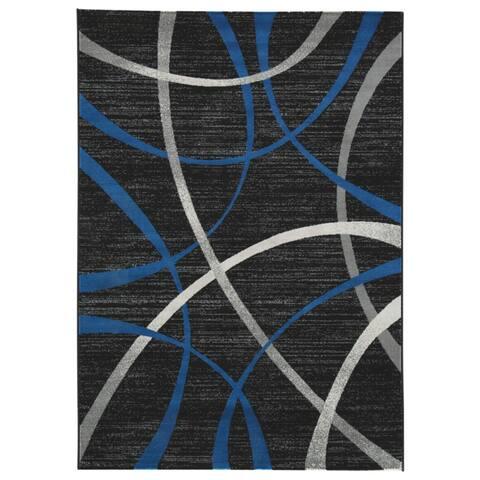 Jenue Large Black/Gray/Blue Rug - N/A