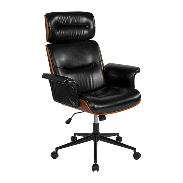 Offex Contemporary High Back Black Leather Walnut Wood Executive Swivel Office Chair