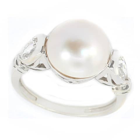 Michael Valitutti 14k White Gold White Mabe Pearl & White Sapphire Ring