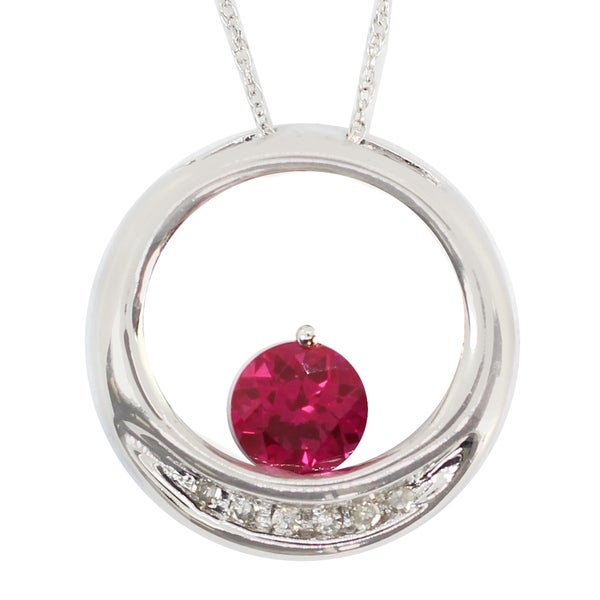 Gems en Vogue 10K White Gold Created Ruby & Diamond Pendant. Opens flyout.