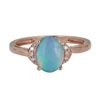 10K RG Australian Opal Diamond Ring By Anika And August White