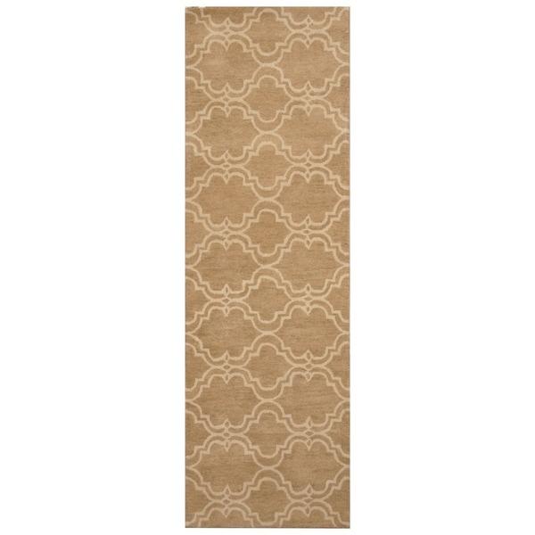 Handmade Trellis Wool Rug (India) - 2'7 x 7'8