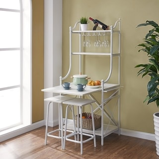 Harper Blvd Petreo White Fold-Out Bakers Rack Bistro Set