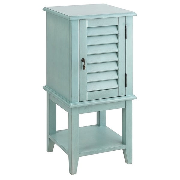 Seahaven Blue Louvered-door Cabinet Table
