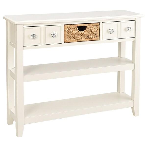 Seahaven White 2-drawer 1-basket Coastal Entryway Table