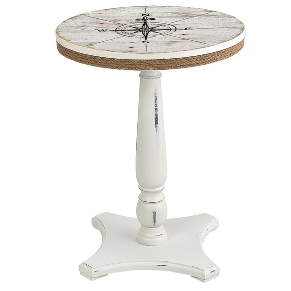 Seahaven White Rubberwood Round Accent Table