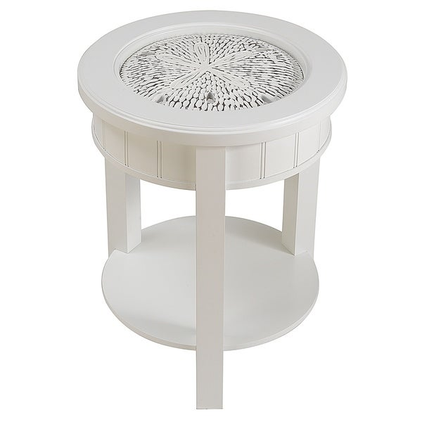 Seahaven White Rubberwood Sand Dollar Accent Table
