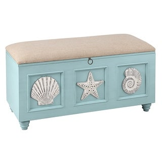 Seahaven Painted Blue Wood Trunk with Padded Seat