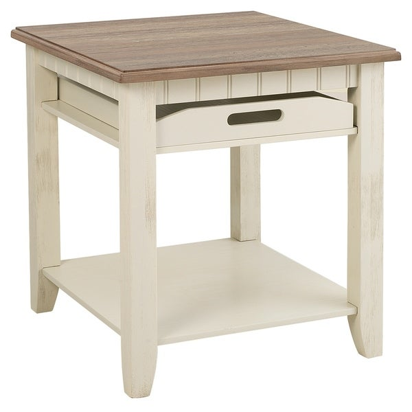 Seahaven White/Brown Tray End Table