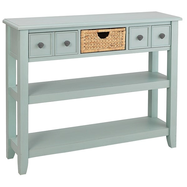 Seahaven Blue Rubberwood 2-drawer Entry Table