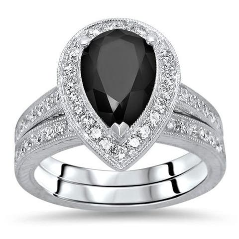 2 & 3/4 ct Black Pear Diamond Bridal Set Engagement Ring 14k Gold