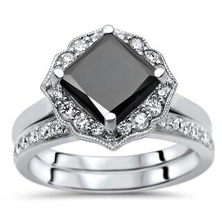 2 1 6 Ct Black Princess Cut Diamond Bridal Set Engagement Ring 14k White Gold