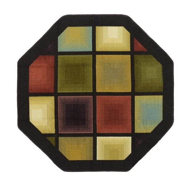 Optic Squares 54 in. Octagon Rug