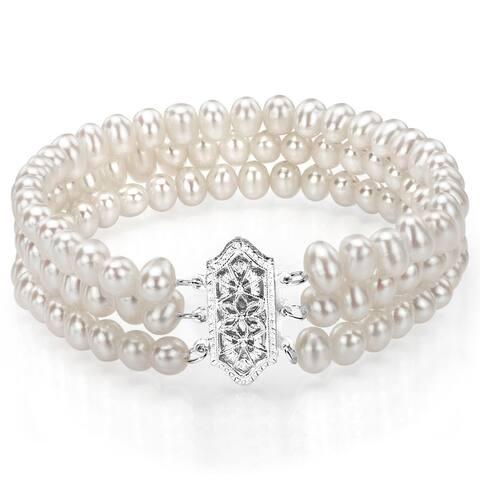 DaVonna 14k White Gold Triple-strand 4-5mm White Freshwater Pearl Bracelet