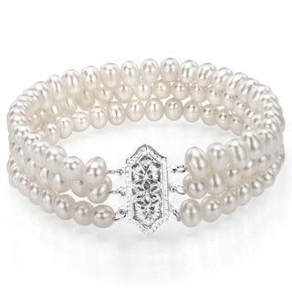 Golden Bracelet 4 Hexagons Grey Tahitian Pearls