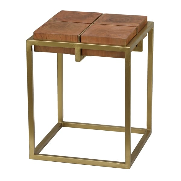 Bare Decor Cheyenne Brown Gold Metal Wood End Table