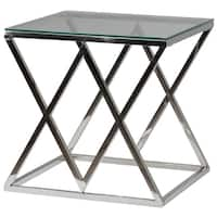 Cortesi Home Gwen Contemporary Glass End Table