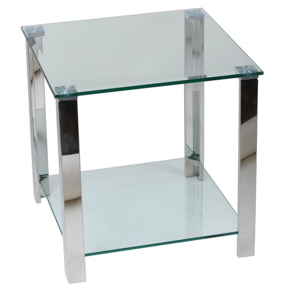 Cortesi Home Melissa Double Shelf Gl End Table 20